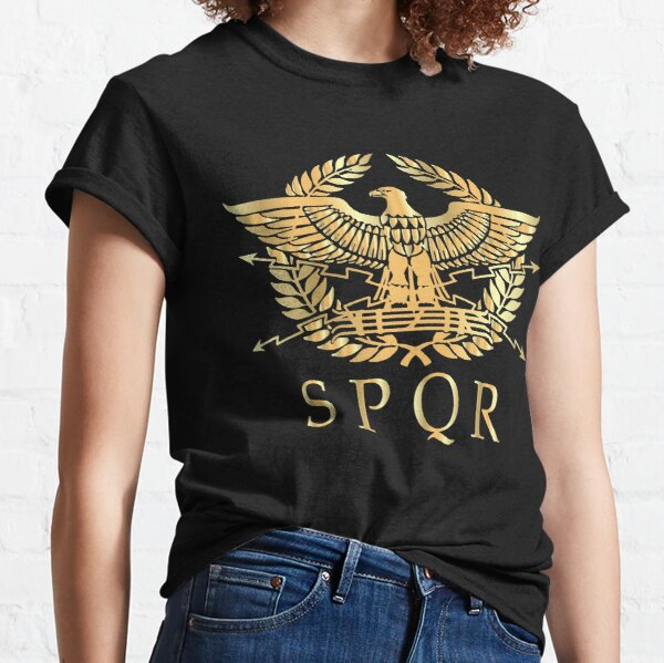 SPQR- Roman Empire Standard Eagle Emblem Vintage Gold Shield Classic T-Shirt