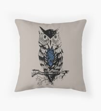 Clockwork Owl  Throw Pillow