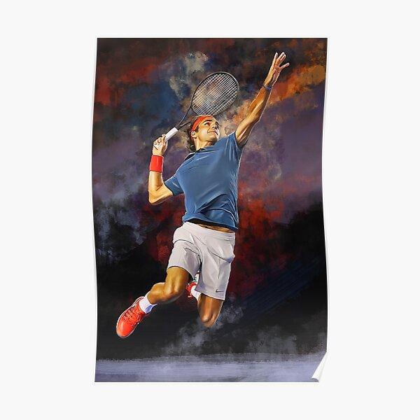 Flying Roger Federer. Affiche imprimée numérique. Cadeau d'art fan de tennis. Poster