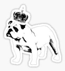English Bulldog and Crown Sticker
