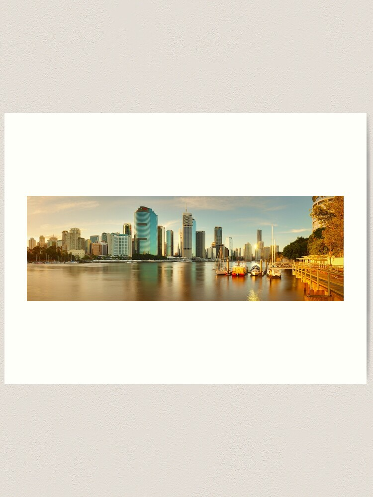 Alternate view of Brisbane from Kangaroo Point, Queensland, Australia Art Print