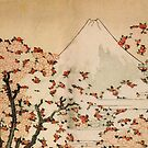 'Mount Fuji Behind Cherry Tree and Flowers' by Katsushika Hokusai (Reproduction) by Roz Abellera Art Gallery