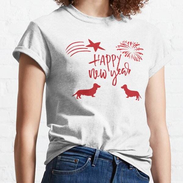 Red Happy New Year Dachsie Celebration Classic T-Shirt