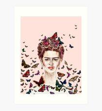 Frida Kahlo Flowers Butterflies Art Print