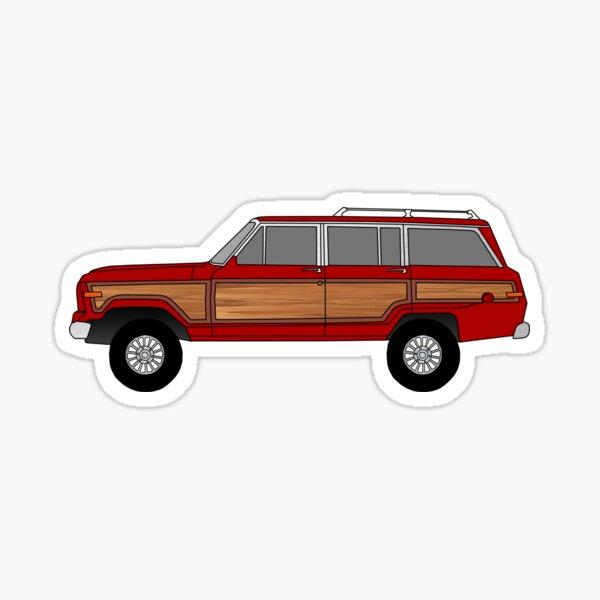 Red Jeep Wagoneer  Sticker