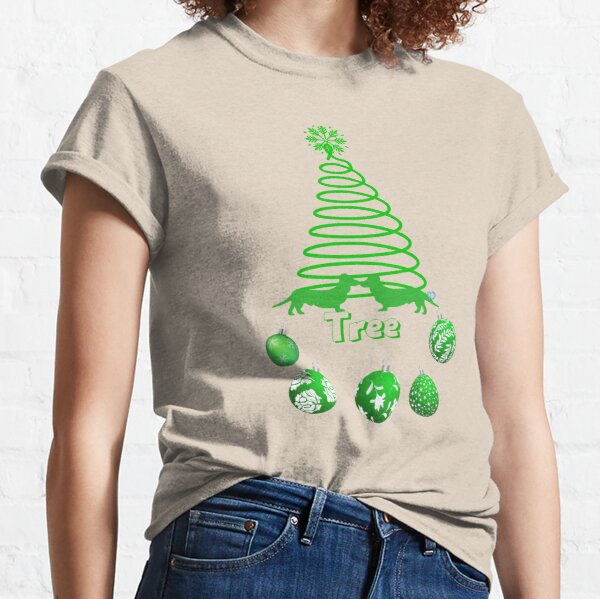 Green Animated Dachsies with Spiral Tree Classic T-Shirt
