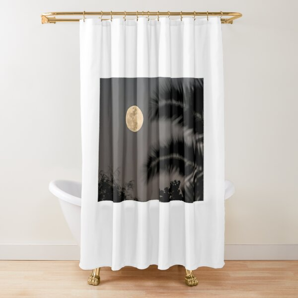 Full Moon with Palm Leaves Shower Curtain