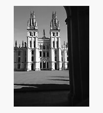 Black and White Oxford Courtyard Photographic Print