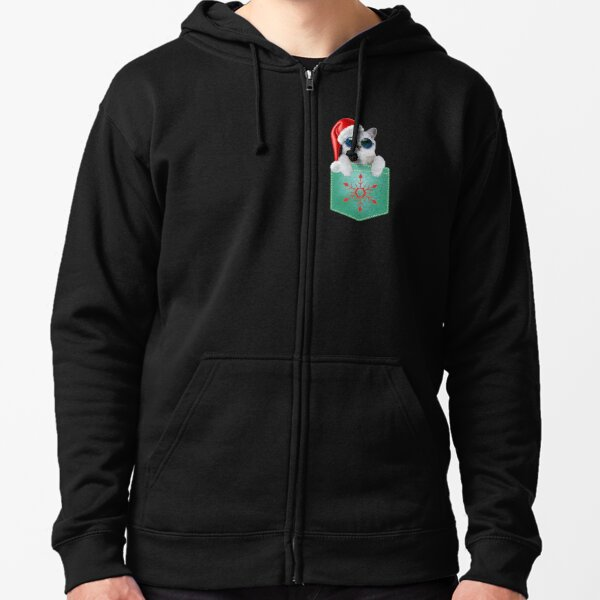 Christmas Pocket Kitty Zipped Hoodie