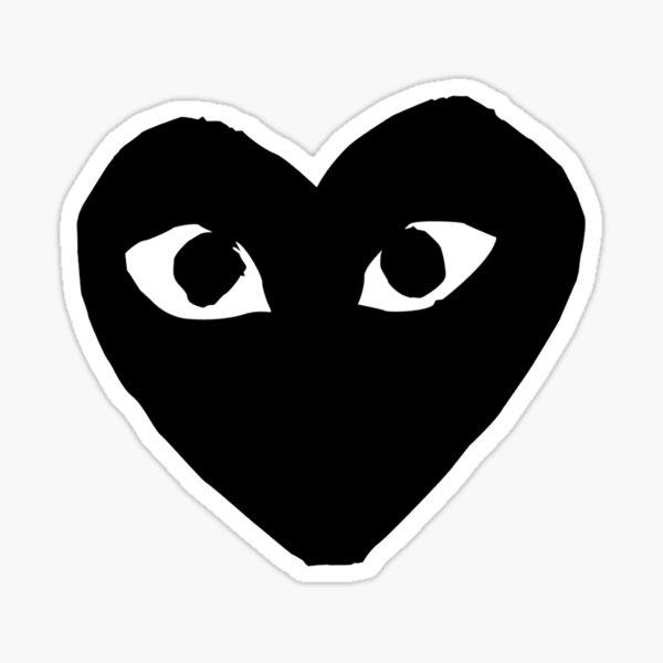 corazón negro con ojos Pegatina