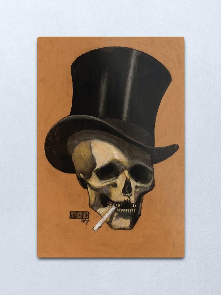 Alternate view of M.C. Escher   Skull With Cigarette Metal Print