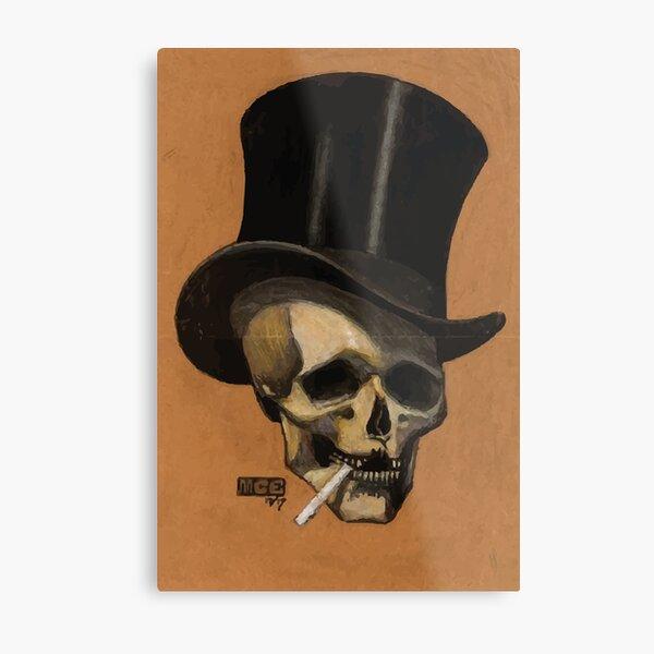 M.C. Escher   Skull With Cigarette Metal Print