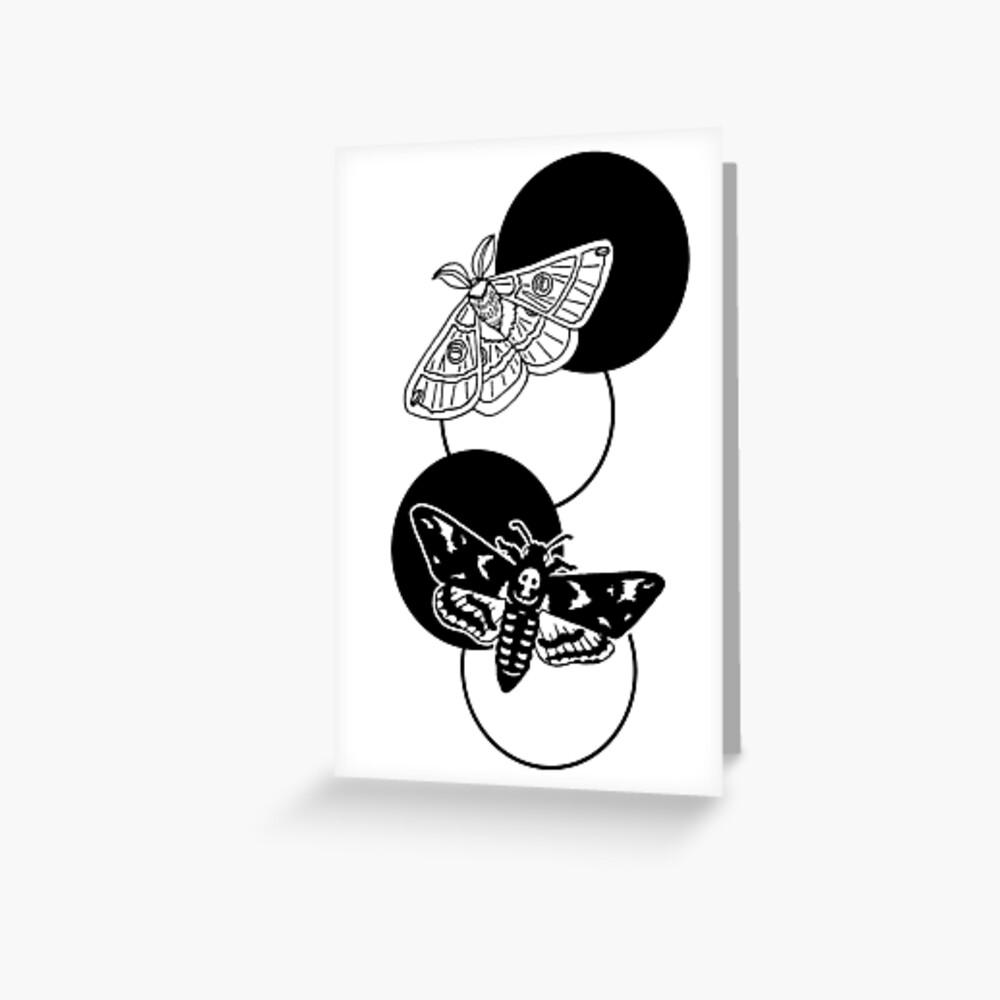 moths and circles Greeting Card