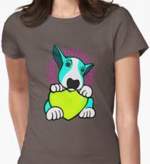 Love You English Bull Terrier Pup Aqua  Womens Fitted T-Shirt