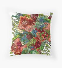 Orchids, Roses & Thistles Throw Pillow