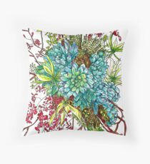 Succulents & Orchids Throw Pillow