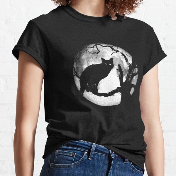 Creepy Black Cat in Dead Tree Under Moonlight Classic T-Shirt