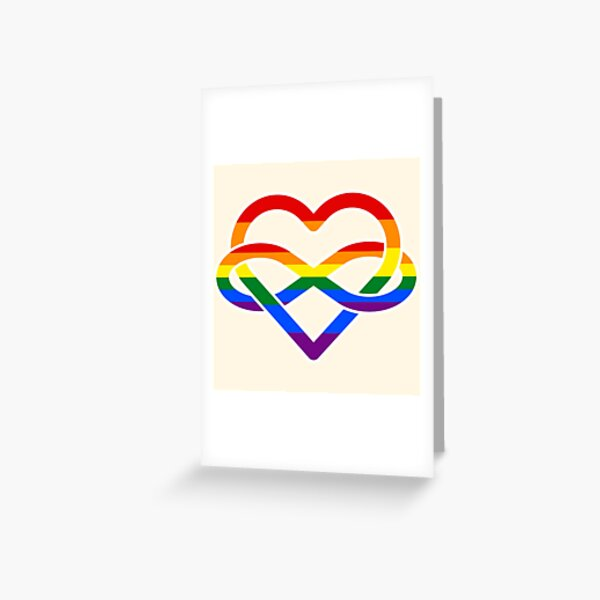 Rainbow Polyamory Infinity Heart Greeting Card