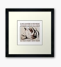 Rhino mother and baby (Southern White), charcoal conté drawing - 30 Million Years Framed Print