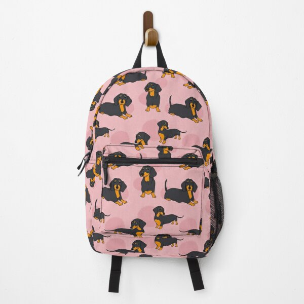 Pink Blue Tan Smooth Dachshund Pattern Sticker Pack Backpack