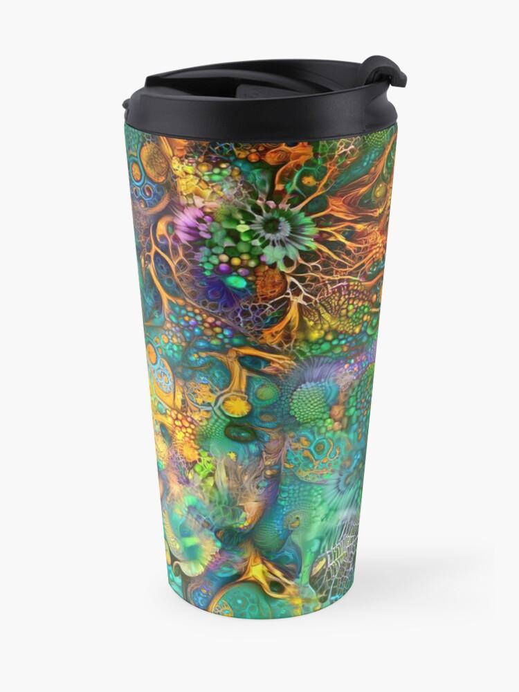 Alternate view of Deepdream floral fractalize abstraction Travel Mug