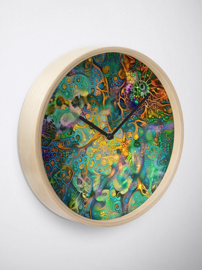 Alternate view of Deepdream floral fractalize abstraction Clock