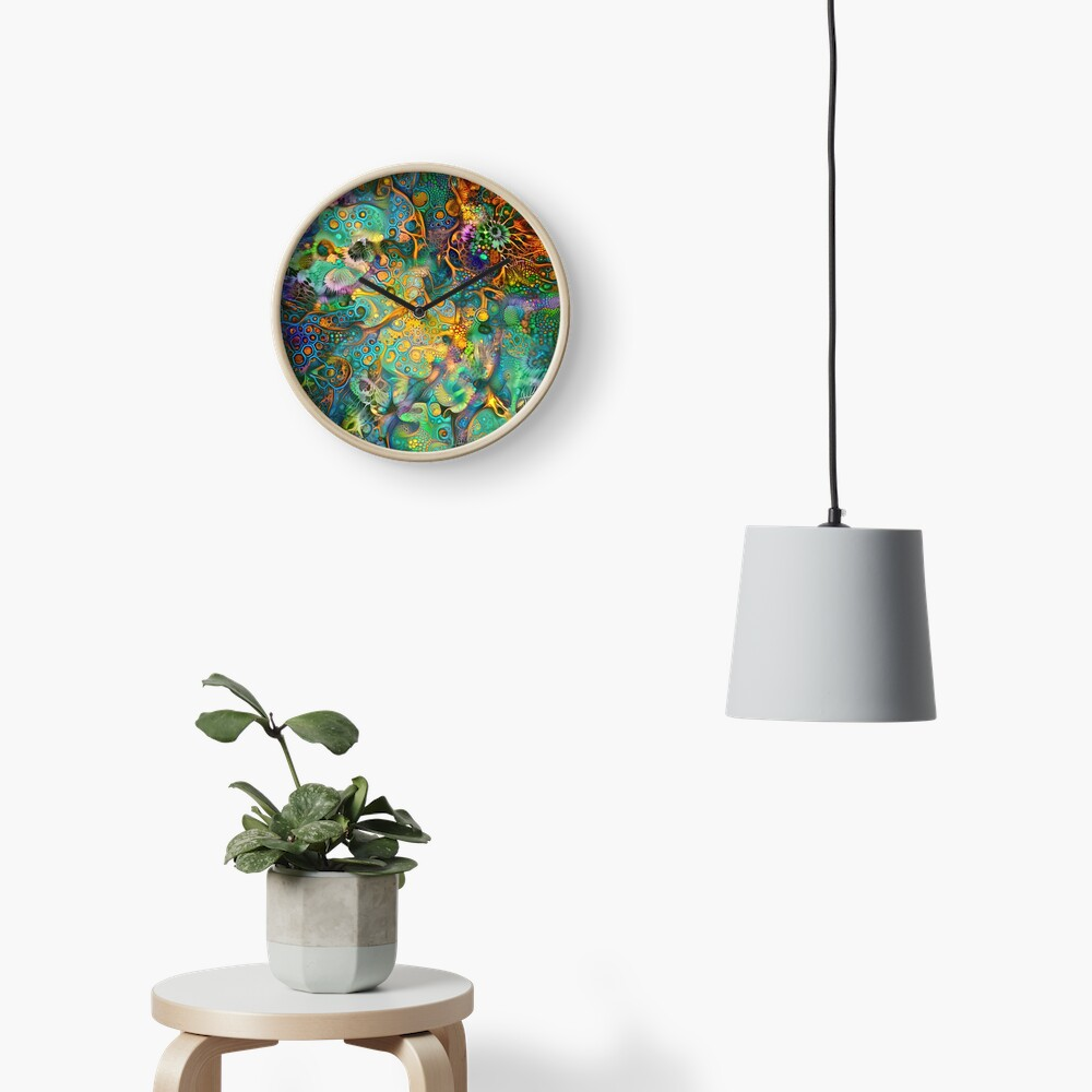Deepdream floral fractalize abstraction Clock