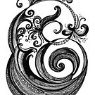 The Letter E, Ink Drawing by Danielle Scott
