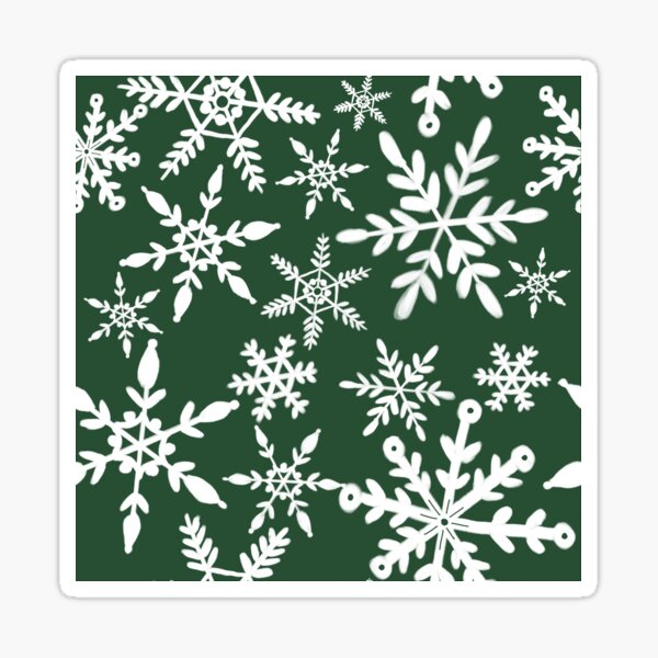 Playful snowflakes ~ green Sticker