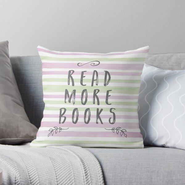 Read More Books - Watercolour Stripes Throw Pillow
