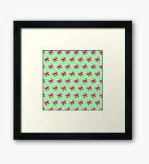 Bow Emoji Pattern Green Framed Print