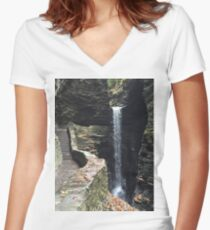 Watkins Glen State Park in New York , USA Women's Fitted V-Neck T-Shirt