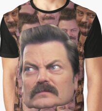 Ron Swanson Head Print Graphic T-Shirt