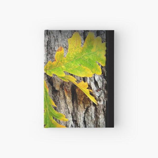 oak inspired oak leaves and bark, early fall Hardcover Journal