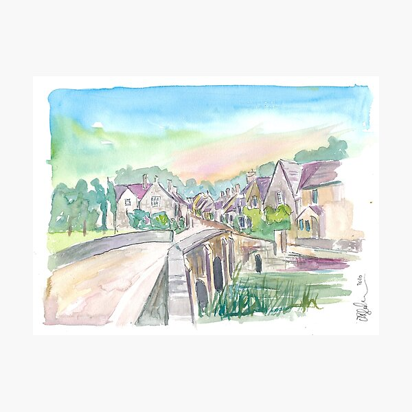 Castle Combe Cotswolds Bridge and Street in England Photographic Print