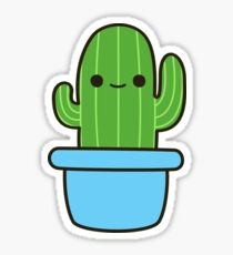 Cute cactus in blue pot Sticker