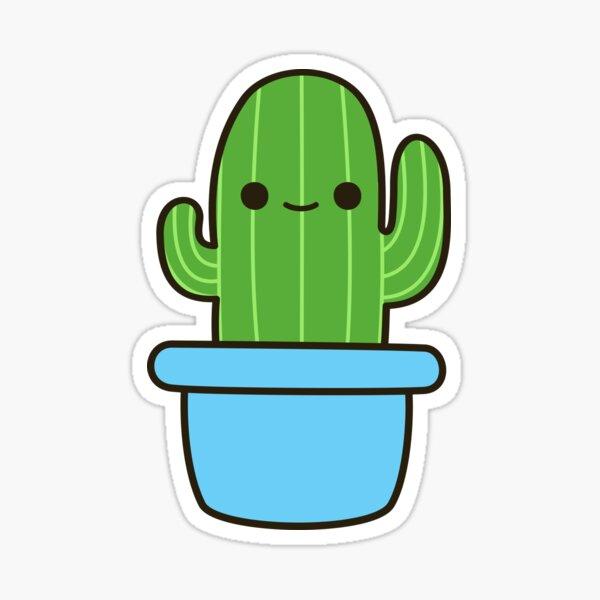 Cute cactus in blue pot Sticker