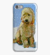 Golden Doodle Dog in Snow: Original Oil Pastel Painting iPhone Case/Skin