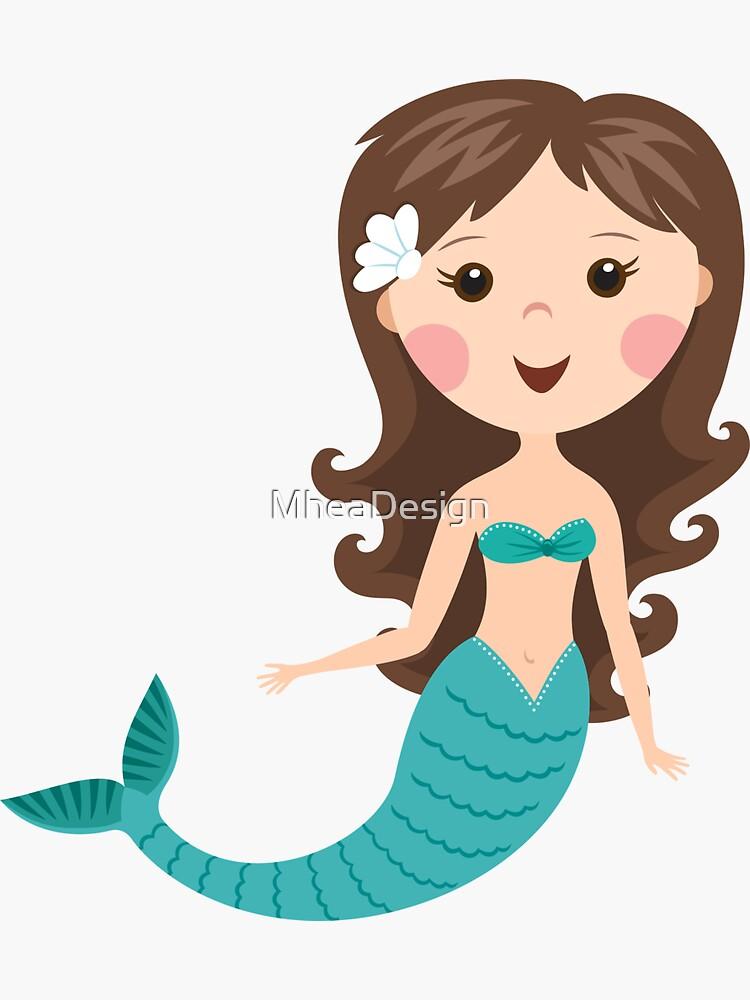 Cute cartoon mermaid with brown hair stickers by MheaDesign