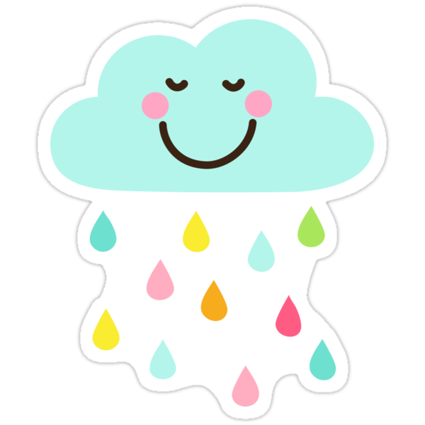 """Cute happy cloud with colorful raindrops sticker ..."