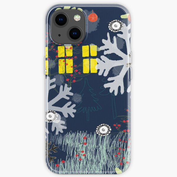Illustration child and snowflakes iPhone Soft Case