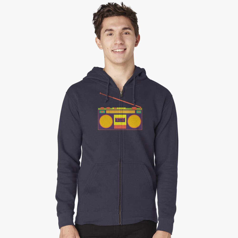 boombox - old cassette - Devices Zipped Hoodie