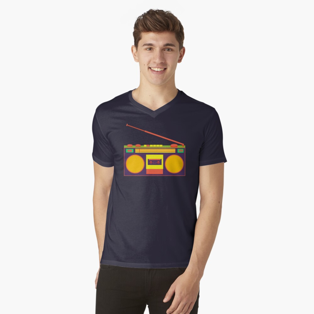 boombox - old cassette - Devices V-Neck T-Shirt