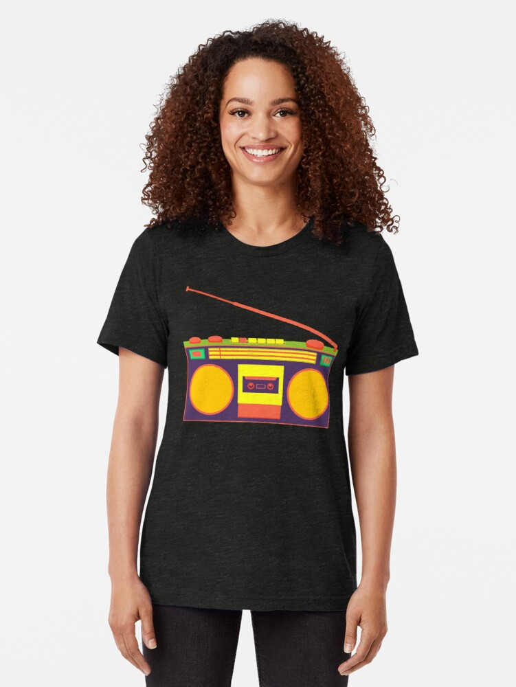 Alternate view of boombox - old cassette - Devices Tri-blend T-Shirt