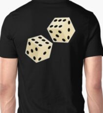 LUCK, LUCKY, DOUBLE SIX, DICE, Throw the Dice, Casino, Game, Gamble, CRAPS, on BLACK T-Shirt