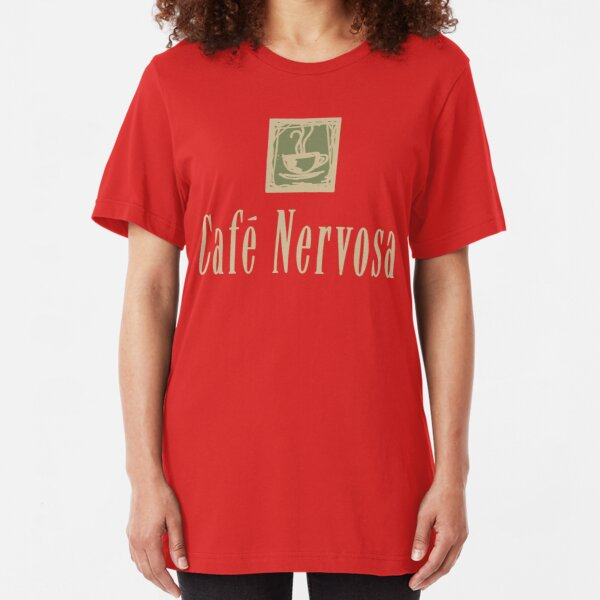 Cafe Nervosa sign – Frasier, Seattle Slim Fit T-Shirt