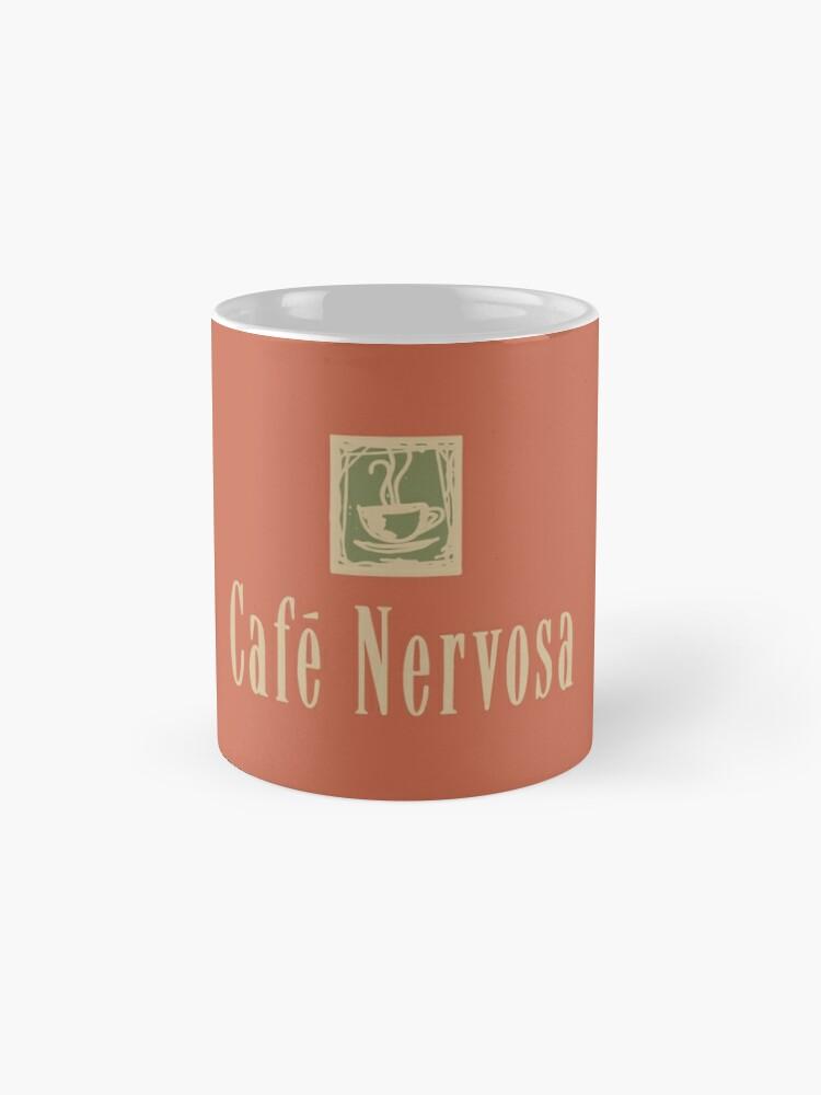Alternate view of Cafe Nervosa sign – Frasier, Seattle Mug