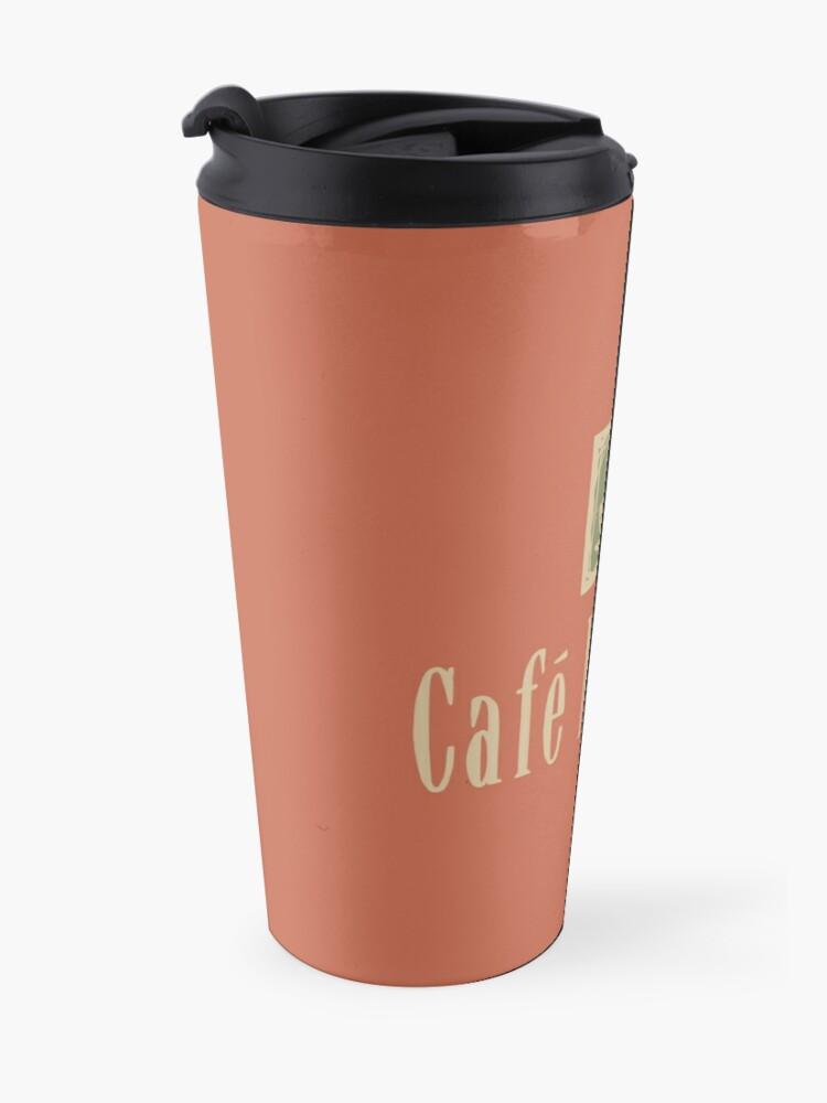 Alternate view of Cafe Nervosa sign – Frasier, Seattle Travel Mug