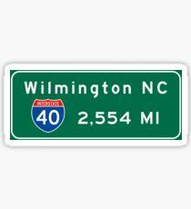 Wilmington, NC 2,554 mi, Road Sign, Barstow, California Sticker