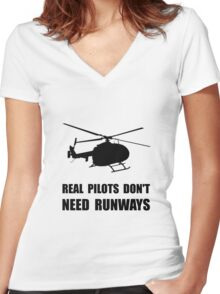 Helicopter Pilot Runways Women's Fitted V-Neck T-Shirt